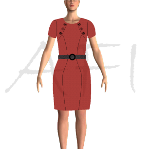 Marsala dress with a leather belt and front buttons