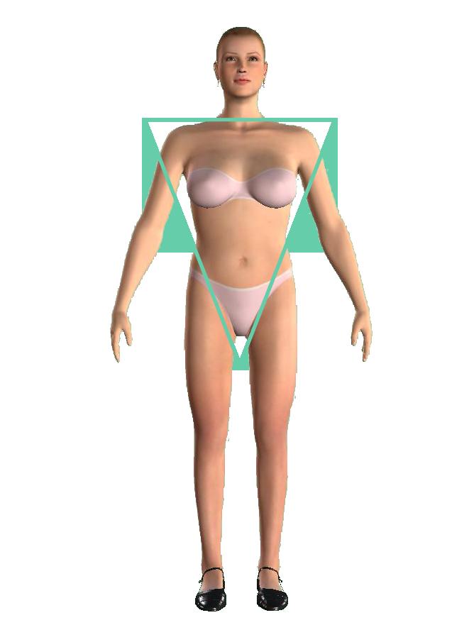 woman inverted triangle shape figură triunghi inversat